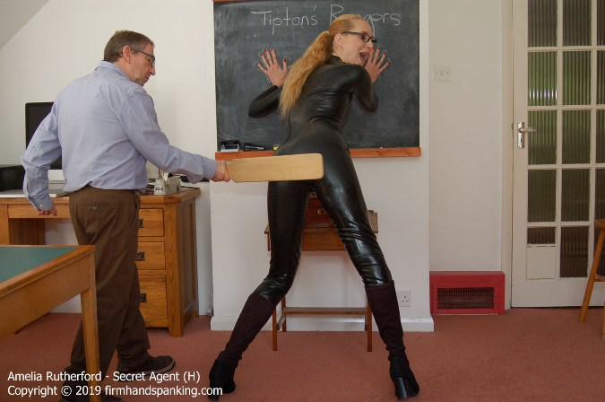 Amelia Rutherford Paddled In Stunning Skin-Tight Pvc Catsuit - HD 1280x720 Video - FirmHandSpanking