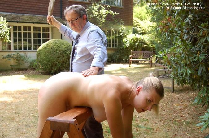 Bare Bottom Slippering For Belinda Lawson, Lying Over Trestle - HD 1280x720 Video