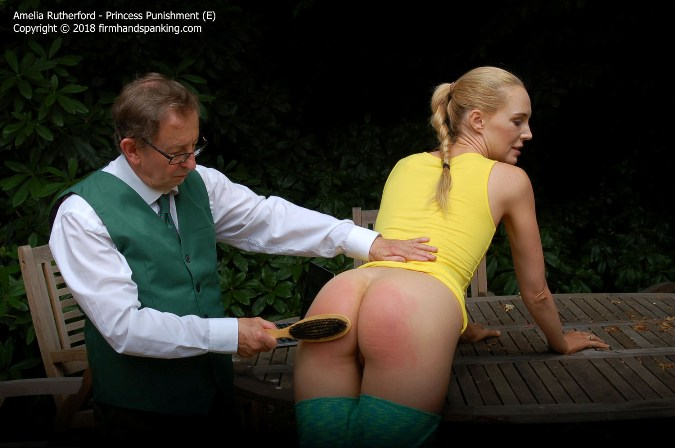 Stinging Wooden Hairbrush Warms Amelia Rutherfords Bare Bottom - HD 1280x720 Video