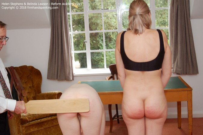 Wooden Paddle, Two Curvy Bare Bottoms, Belinda And Helen - HD 1280x720 Video