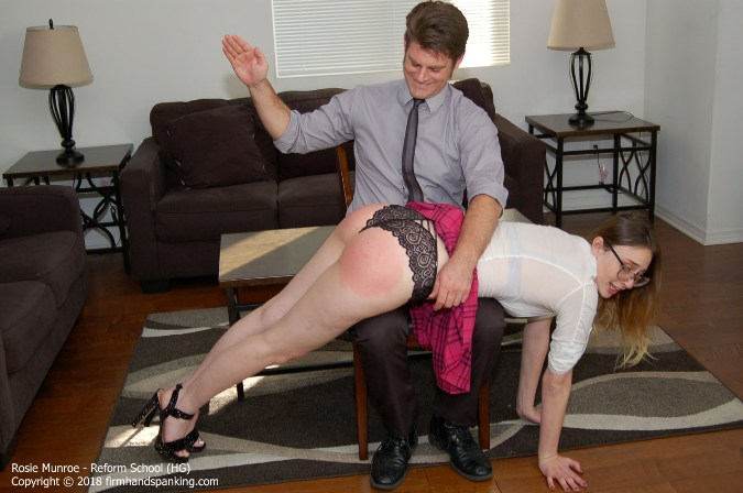 Serious Dress Code Offense Gets Tall Senior Rosie Munroe Spanking - HD 1280x720 Video