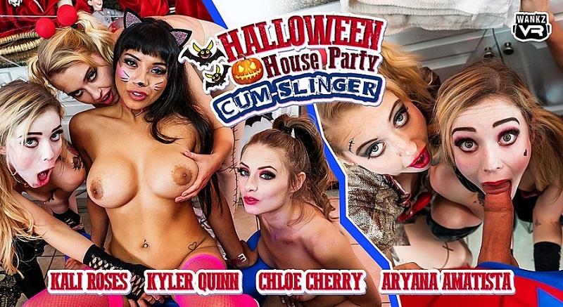 Halloween House Party: Cum-Slinger, Aryana Amatista, Chloe Cherry, Kali Roses, Kyler Quinn, 29 October, 2019, 3d vr porno, HQ 2300