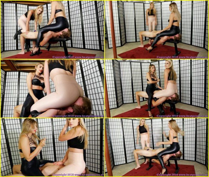 Chloe & Mia - Two Sexy Blondes Smother Human Chair In Chastity - HD Video / 2019
