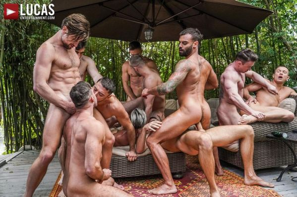 LucasEntertainment - 11-Man Fire Island Bareback Orgy (Part 02)