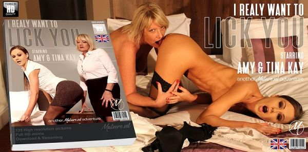 Milf Amy is having fun with hot mom Tina Kay in bed