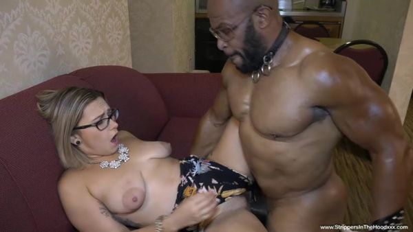 Strippersinthehoodxxx: Red August - Gorgeous nerdy Red August has her 1st experience with a BBC stripper and gets filled up with his hot load (SD/480p)
