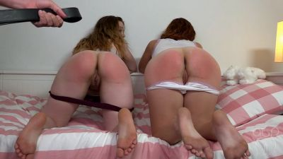 Sleepover Sluts – Bare Belt Whipping Together – Maddy and Lizzy get Daddy's Belt