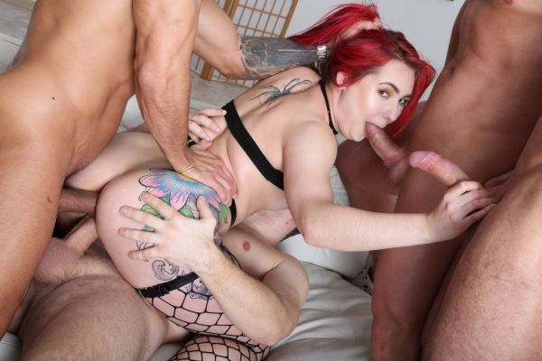 Stella Paint - Stella Paint 4on1 Balls Deep Anal, First Time Balls Deep DP and Swallow GIO1399 [HD 720p] (LegalP0rno)