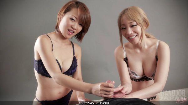 Airi Mashiro and Ayumi Kuroki's double handjob