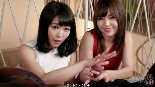 Shino Aoi and Yui Kawagoe's teasing handjob