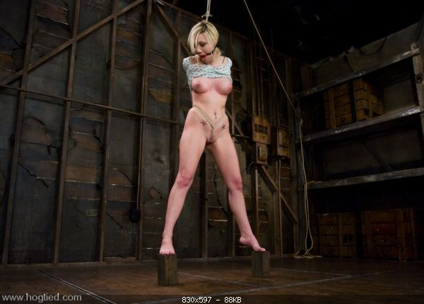 Samantha Sin - blond, shaved, toned, and a former gymnast - now a first time bondage model