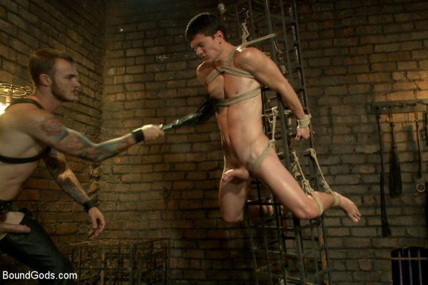 BG - Caged sex slave endures a beating, hot wax and hard stockade fuck
