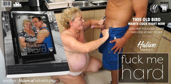 Big breasted Granny Haline loves to get