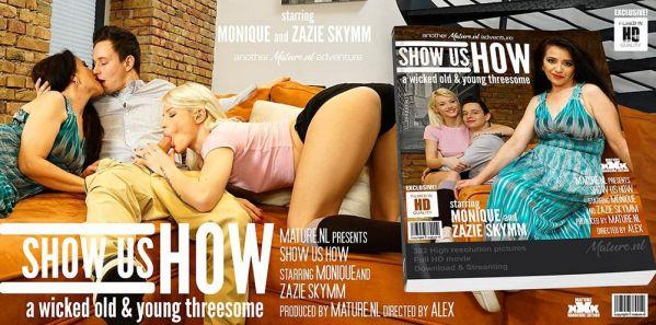 Monique (EU) (49), Zazie Skymm (aka Zazie Sky, Azazai) (25)  - This hot young couple gets freaky sexlessons from MILF Monique