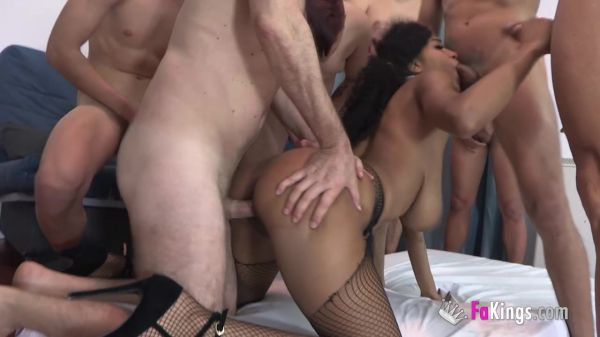 Tina Fire - 8 dudes for Tina, young and old, all come to the MEGA-TITTED Brazilian babe. A new FREE PUSSY day, this time it's INTERRACIAL (19.06.2020) [HD 720p] (FAKings)