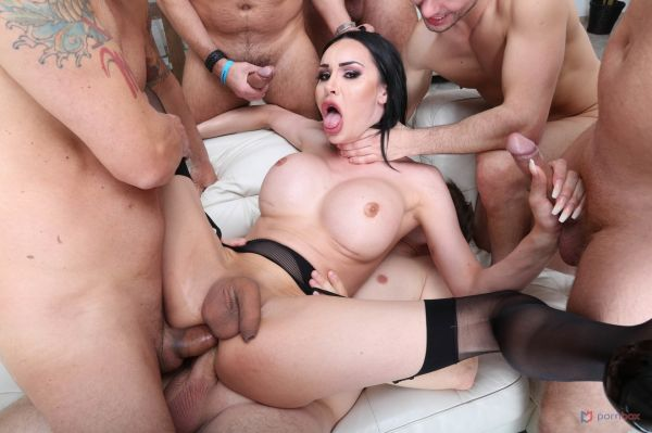LegalP0rno: Kimberlee - What the Fuck! TS Kimberlee 6on1 Double Anal Gangbang with Creampie and Swallow BTG026 [HD/720p]