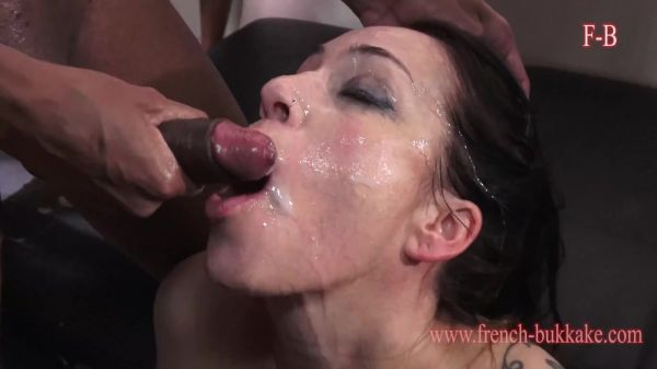 French-Bukkake: Adeline LaFouine - Adeline: Blowbang, Swallow, Facial (HD/768p)