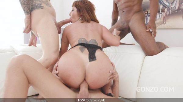 Big butt slut Adara Love returns to Gonzo for piss drinking and double penetration