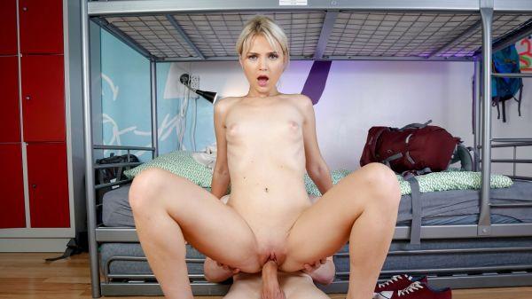 Beautiful blonde in hot sex in hostel