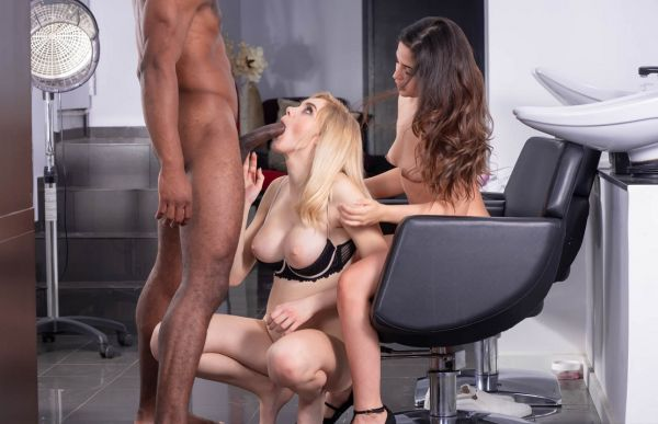 Horny Hairdressers Enjoy Interracial Threesome
