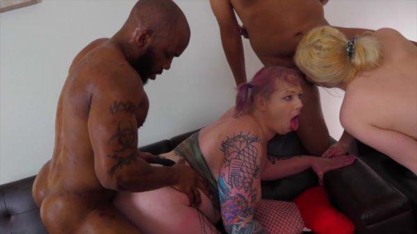 Trans: Thadmaxxx, Kelly Quell, Kim Sinn  - 3 BBC 2 TS Interracial Gonzo Orgy Cums [HD/720p]