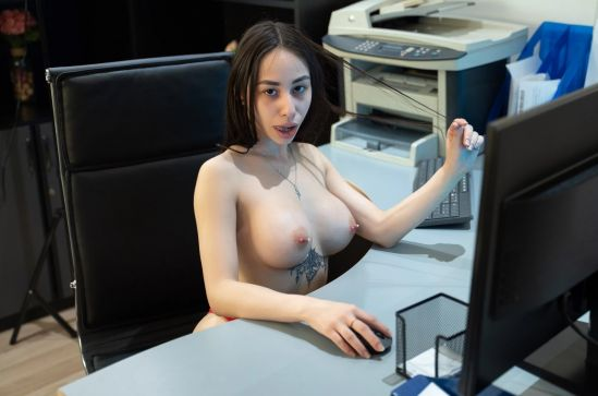 At the Office - Busty Secretary Smartphone