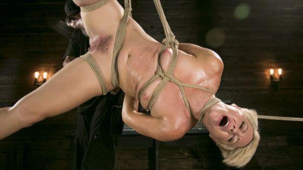 Blonde Buff MILF Helena Locke Made To Cum In Tight Rope Bondage