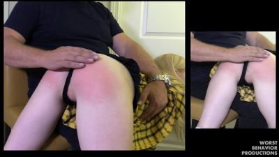 Clueless Blonde Spanked - 50 From The Belt 20 From The Prison Strap Pt1