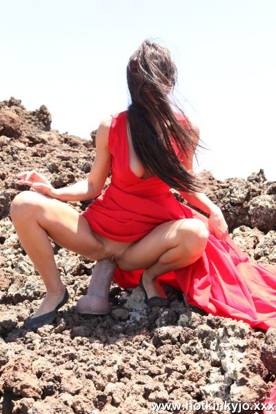 Dildo: Hotkinkyjo  - Large dong from mrHankey anal & prolapse by Hotkinkyjo in red dress on the rocks (02.05.2021) (FullHD/1080p)