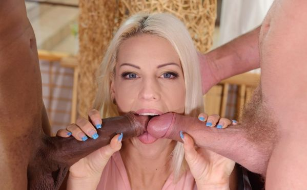 Hot Blonde Wild DP Fuck With B&W Cocks