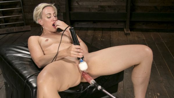 Athletic, Nympho Dylan Ryan Squirts From An Anal Machine Fucking