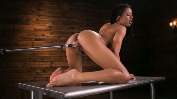 Young And Athletic Ebony Bombshell Gets An Anal Machine-Fucking