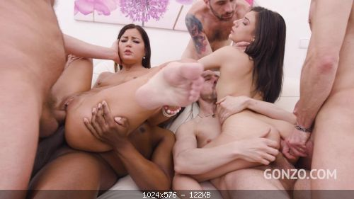 Group Cindy Shine and Emily Pink double anal fucked together with 0% Pussy SZ267