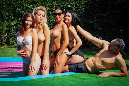 Topless Pool Party Becomes an FFFFM Orgy Smartphone