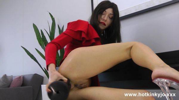 Dildo - Hotkinkyjo in hot red dress fuck her anal hole with dildo from MrHankey & prolapse (19.09.2021) with Hotkinkyjo (FullHD/1080p) [2021]