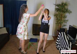 Mom/daughter Halloween Spanking: Elektra - image3
