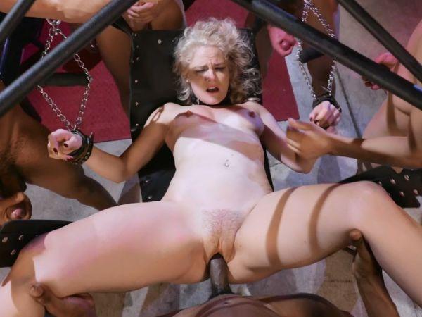 Caged Gangbang Slut: Submissive Lisey Sweet Gets Holes Cracked Open