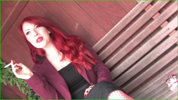 Smoking_Beautiful Red Head Smokes Marlboro Reds At The Bus Stop Wearing
