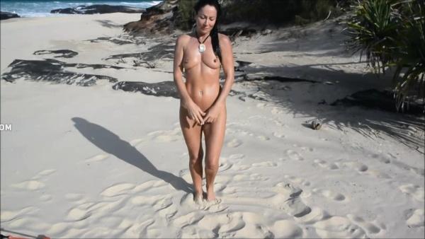 Voyeur Naked beauty sings and dances on beach