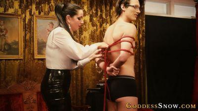 GoddessAlexandraSnow – Red Rope Hogtie Photoshoot