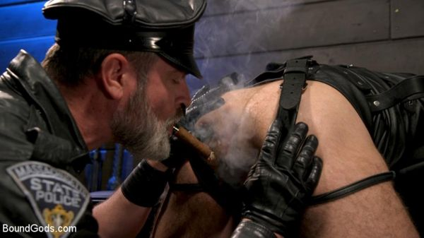 BG – ASH PIGS – Cigar Smoking Leather Daddy Breaks in His Hairy Muscle Slave – Kristofer Weston &…