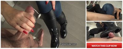 FetishLiza – Leather and rubber bootjob part 2