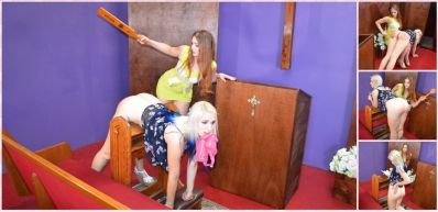 SpankingSororityGirls – Episode 188: Veronica Spanks Dria in the Chapel