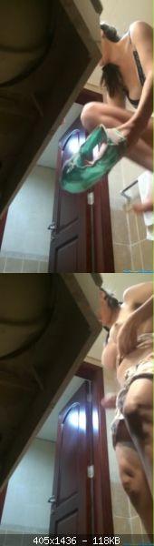Voyeur 9576-SEXY BUSTY BRUNETTE IN BATHROOM