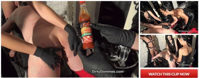 DirtyDommes – Spitroast with a real cock part 1