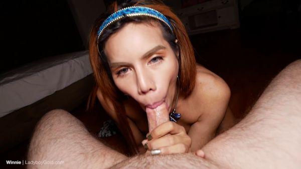 LadyboyGold: Winnie - Huge Buttplug Pushed In Creampie HJ [HD/720p]