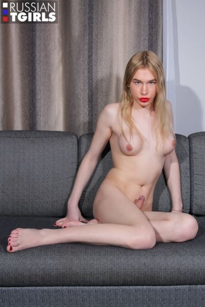 Alice Caresses Her Cock And Cums