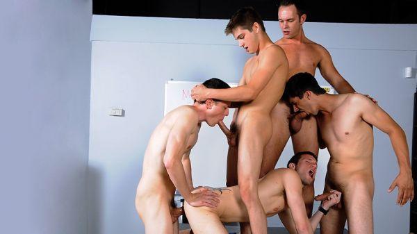MN - Jizz Orgy - Substitute Teacher Initiation - Jason Denver , Devin Adams , Kyle Quinn , Johnny Rapid , Jared King