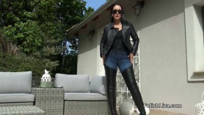 FetishLiza – Smoking in Leather Chap Boots