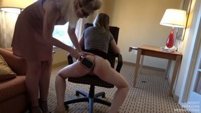 Boss Takes Wet Panty and Penalty Swats